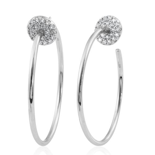 Designer Inspired - Natural White Cambodian Zircon (Rnd) Hoop Earrings in Platinum Overlay Sterling Silver 1.750 Ct, Silver wt 14.83 Gms