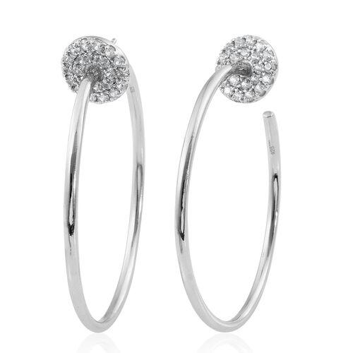 Designer Inspired - Natural White Cambodian Zircon (Rnd) Hoop Earrings in Platinum Overlay Sterling