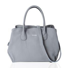 SENCILLEZ Super Soft 100% Genuine Leather Grey Colour Tote Bag with External Zipper Pocket and Remov