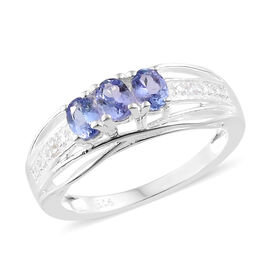 Tanzanite (0.49 Ct) and Diamond Sterling Silver Ring  0.500  Ct.