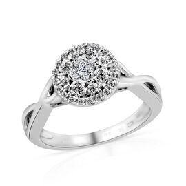 New York Close Out- 14K White Gold Diamond (I1-I2/G-H) Ring 0.500 Ct., Gold wt.4.60 Gms.