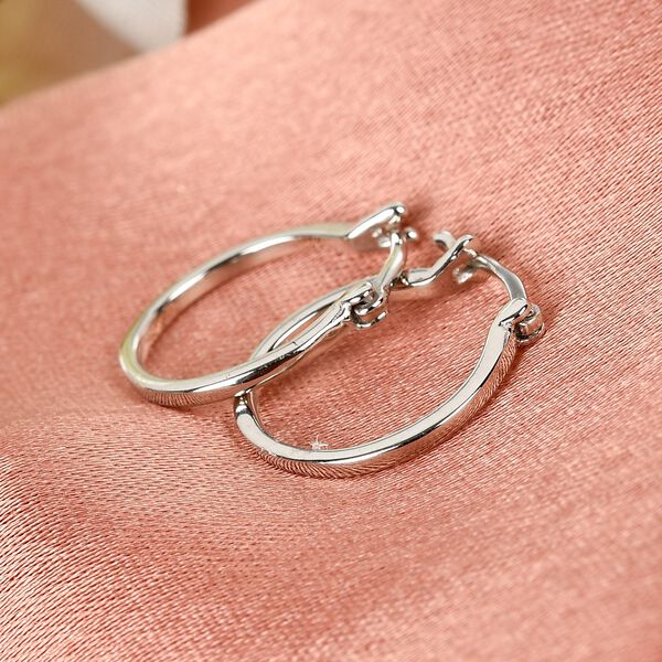 Platinum Overlay Sterling Silver Hoop Earrings (with Clasp)