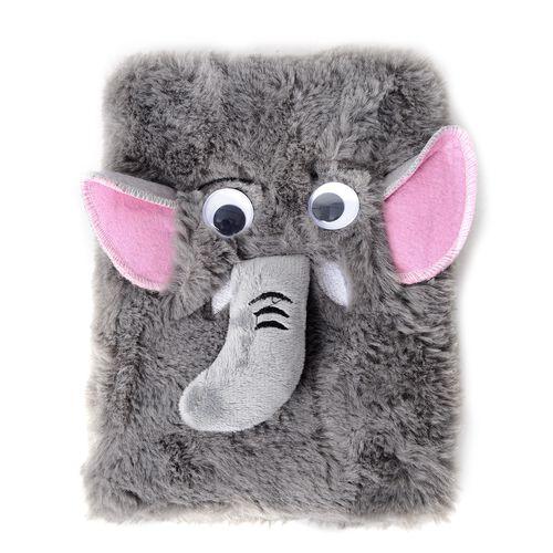 3 Piece Set- Elephant Pattern Notebook and 2x Pens (Size 22x16x3.5 Cm) Colour Grey