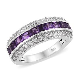 African Amethyst (0.90 Ct),Cambodian Zircon Platinum Overlay Sterling Silver Ring  1.500  Ct.