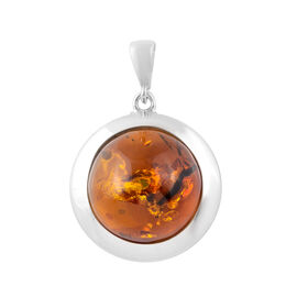 Baltic Amber Solitaire Pendant in Sterling Silver 6 Grams
