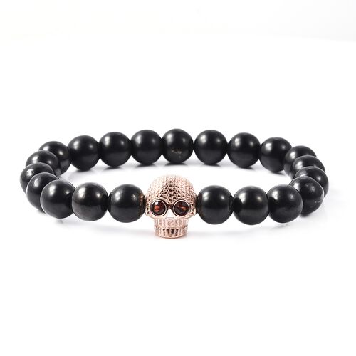 Shungite (Rnd 9-11mm), Mozambique Garnet Stretchable Skull Charm Beads Bracelet (Size 7) in Rose Gol