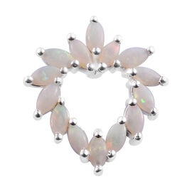 Australian White Opal (Mrq) Heart Pendant in Sterling Silver 1.00 Ct.