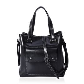 100% Genuine Leather Tote Bag with Removable Shoulder Strap (Size 26x10x26 Cm) - Black