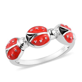 Platinum Overlay Sterling Silver Enamelled Ladybug Ring