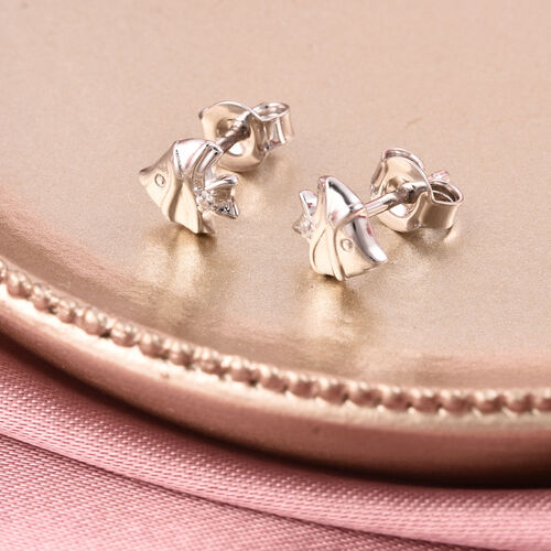 RACHEL GALLEY - Natural Cambodian Zircon Fish Stud Earrings (with Push Back) in Rhodium Overlay Sterling Silver