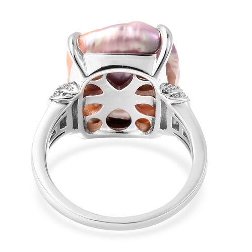 Baroque Pearl and Natural Cambodian Zircon Ring in Rhodium Overlay Sterling Silver, Silver wt 5.01 Gms