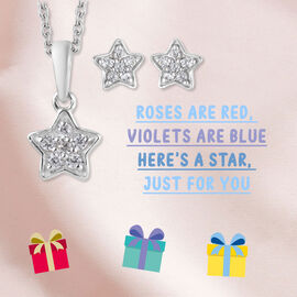 2 Piece Set Zircon Star Pendant for Kids with 20 Inch Chain and Stud Earrings in Platinum Plated Sterling Silver