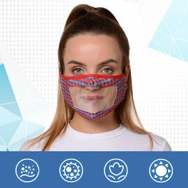 Multi Colour Transparent Face Mask (Size 14x20x29 Cm) - Purple, Blue and Red