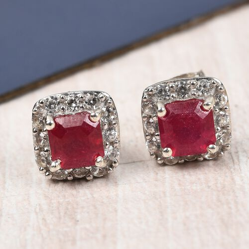 African Ruby (Oct), Natural Cambodian Zircon Earrings (with Push Back) in Platinum Overlay Sterling Silver 2.50 Ct.
