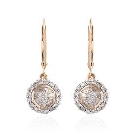 Diamond Cluster Drop Earrings in 9K Gold SGL Certified I2 I3 GH 2 Grams 0.23 Ct