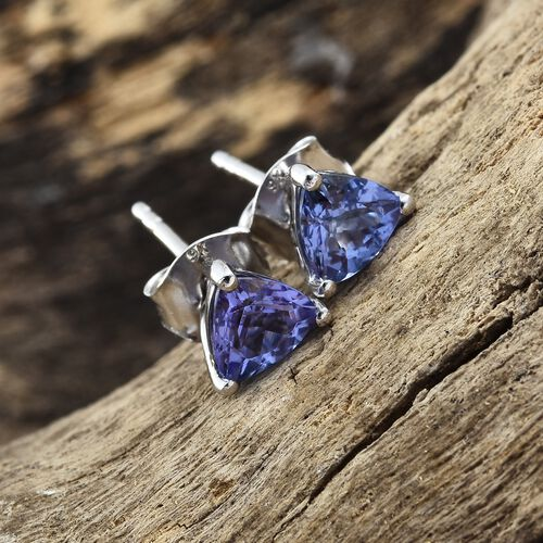 1.25 Ct AA Tanzanite Stud Earrings in 9K White Gold (with Push Back)
