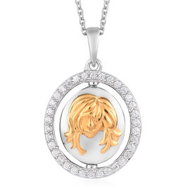 Natural Cambodian Zircon Zodiac-Gemini Pendant with Chain (Size 20) in Yellow Gold and Platinum Over