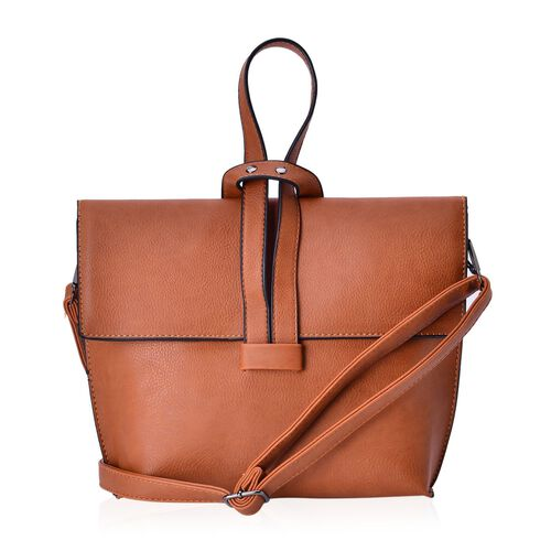 Italian Tan Colour Handbag with Adjustable and Removable Shoulder Strap (Size 24x19.5x6 Cm)