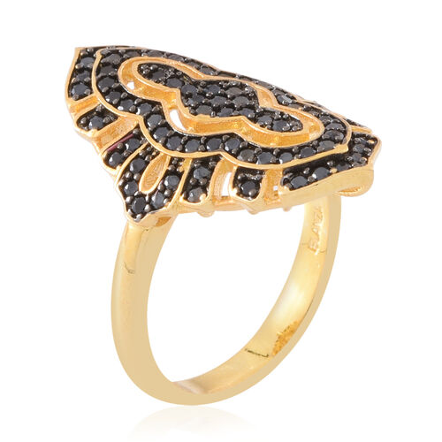 Boi Ploi Black Spinel (Rnd) Ring in 14K Gold Overlay Sterling Silver 2.350 Ct. Silver wt. 7.00 Gms.