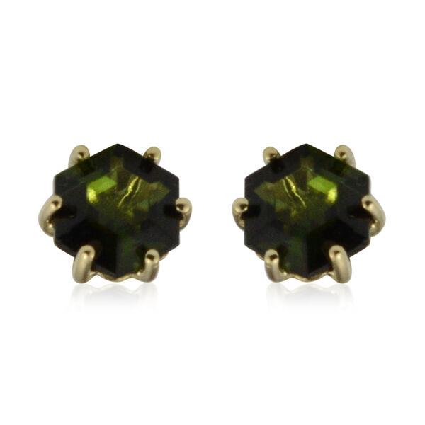 9K Yellow Gold  Green Tourmaline (Hexagon) Earrings (with Push Back) 1.04 Ct.
