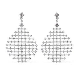 GP 1.06 Ct Diamond and Kanchanaburi Blue Sapphire Drop Earrings in Sterling Silver 4.2 Grams
