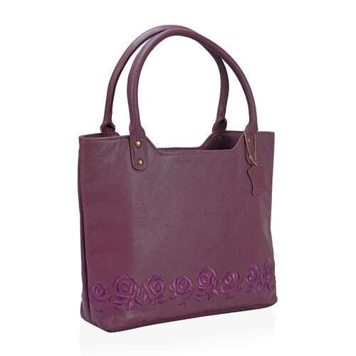 Premium Super Soft 100% Genuine Leather Burgundy Large Tote Handbag with RFID Blocker and Embroidery Rose (Size 44x31x10)