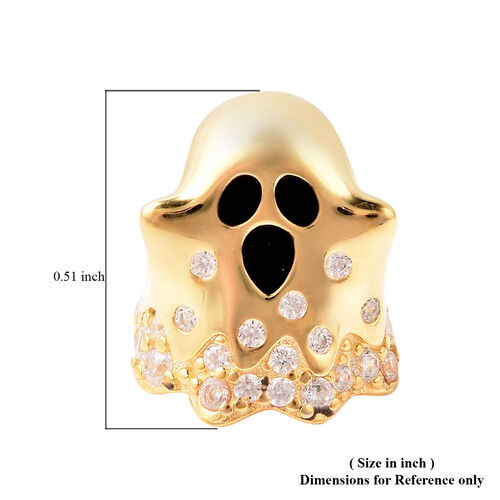 Charmes De Memoire - Simulated Diamond Ghost Charm in Yellow Gold Overlay Sterling Silver Charm/Pendant