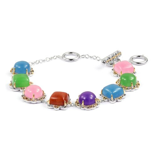 Red, Green, Pink and Multi Colour Jade Bracelet (Size 6.5 to 8) Yellow Gold Overlay Sterling Silver