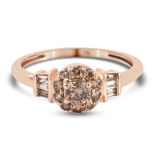 Limited Available- 9K Rose Gold SGL Certified Natural Champagne Diamond (I3) Ring 0.50 Ct.