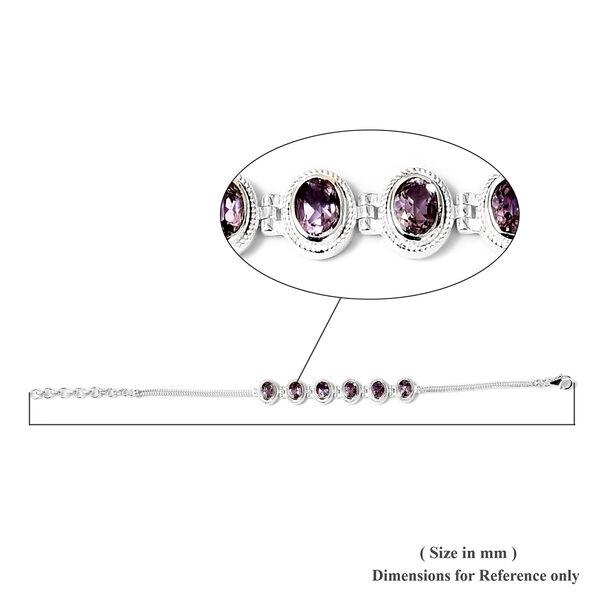 Rose De France Amethyst Bracelet (Size 7 with 1.5 inch Extender) in Sterling Silver 4.30 Ct, Silver wt 8.75 Gms
