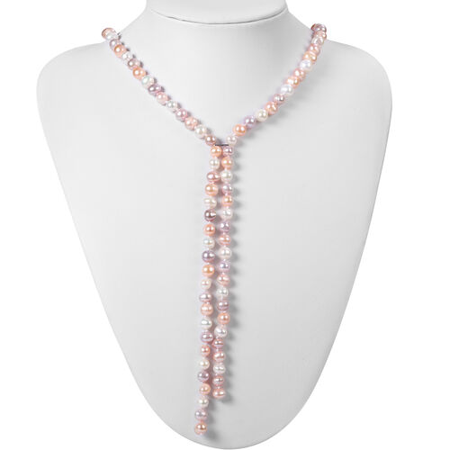 Designer Inspired-Multi Colour Freshwater Pearl Necklace in Sterling Silver