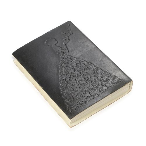 Embossed Leather Notebook with Butterfly Charm (Size 17.78x12.7 Cm) - Black