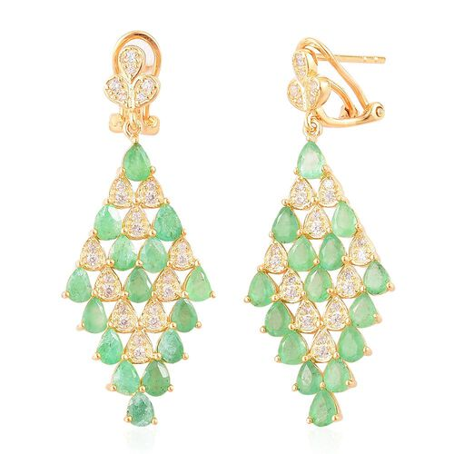 Kagem Zambian Emerald (Pear), White Zircon Earrings (with French Clip) in Yellow Gold Overlay Sterling Silver 4.750 Ct.