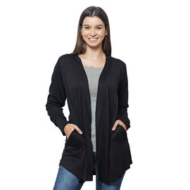 Black Colour Push up Sleeve Cardigan with Pockets
