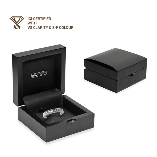 RHAPSODY 950 Platinum IGI Certified Diamond (Bgt and Rnd) (VS/ E-F) Band Ring 0.50 Ct, Platinum wt 6.00 Gms