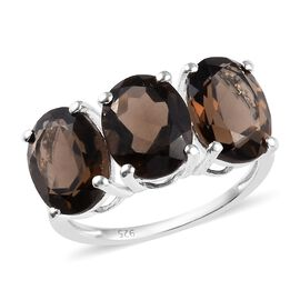 4.25 Ct Brazilian Smoky Quartz Trilogy Ring in Silver