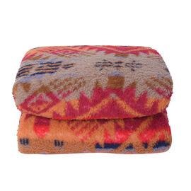 Tribal Pattern Sherpa Blanket (150x200cm) - Beige Aztec