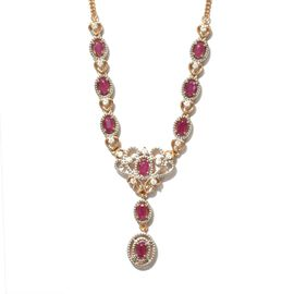 Burmese Ruby and Natural Cambodian Zircon Necklace (Size 18) in 14K Gold Overlay Sterling Silver 3.2