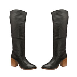 Ravel Black Lumsden Leather Heeled Knee-High Boots