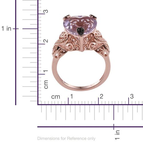 GP Rose De France Amethyst (Hrt), Kanchanaburi Blue Sapphire and Boi Ploi Black Spinel Ring in Rose Gold Overlay Sterling Silver 5.000 Ct.
