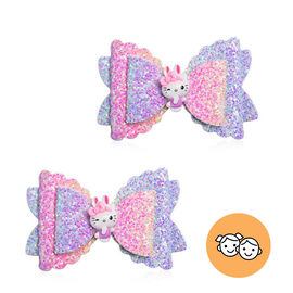 2 Piece Set - Multi Colour Butterfly Hairpin (Size 8x5 Cm)