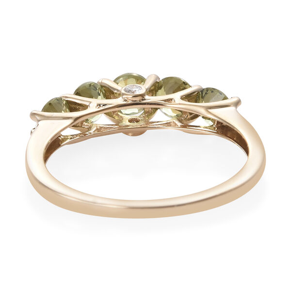 New York Close Out Deal 14K Yellow Gold AA Russian Demantoid Garnet, Diamond (SI/G-H) Ring 1.53 Ct.