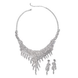 White Austrian Crystal Necklace and Dangle Earrings in Silver Tone 20 Inch