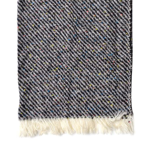 Italian Designer Inspired-Black, Grey and Multi Colour Stripes Pattern Scarf with Fringes (Size 180X60 Cm)