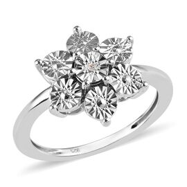 Diamond (Rnd) Floral Ring (Size O) in Platinum Overlay Sterling Silver