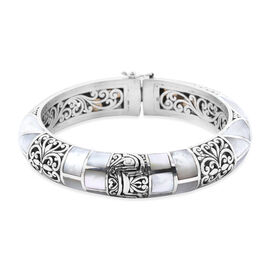Royal Bali Collection Mother of Pearl Filigree Bangle in Silver 7.5 Inch