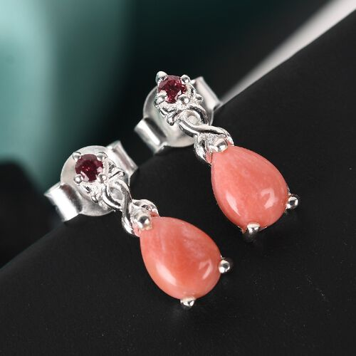 Oregon Pink Opal and Rose Garnet Drop Earrings (with push Back) in Sterling Silver 1.43 Ct.