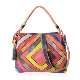 100% Genuine Leather Multicolour Block Pattern Tote Bag (Size 33x10x30 Cm) with Detachable Shoulder