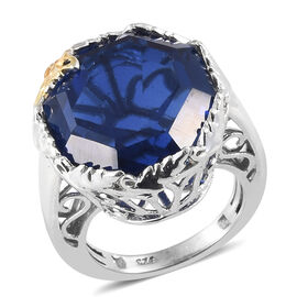 Ceylon Colour Quartz (Octillion) Ring in Platinum and Gold Overlay Sterling Silver 16.750 Ct, Silver