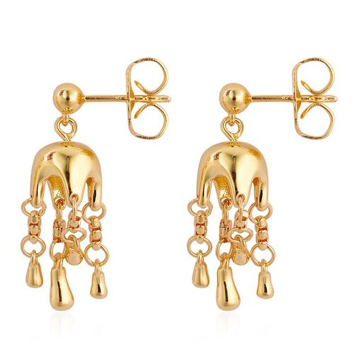 LucyQ Umbrella Earrings (with Push Back) in Yellow Gold Overlay Sterling Silver 6.00 Gms.